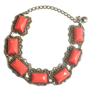 Coral Link Collar Necklace