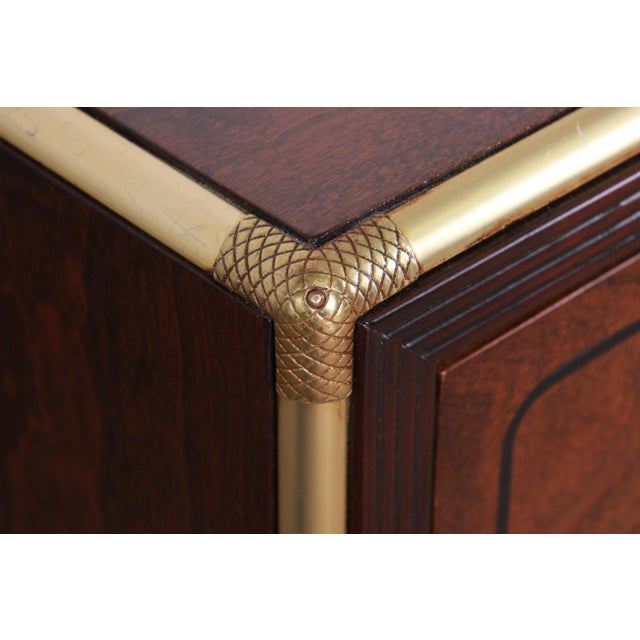Baker Furniture Campaign Walnut and Brass Nightstands - a Pair For Sale - Image 10 of 13