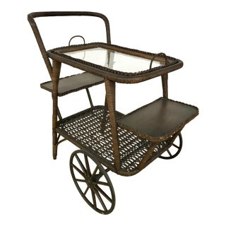 Wicker Tea Bar Cart Trolley For Sale