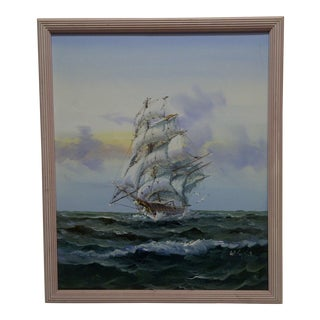 "Original Framed Painting on Canvas - ""Sailing Ship"" by W. Sopice"