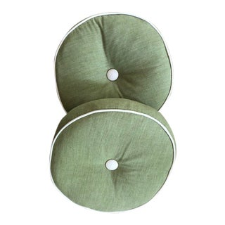 Round Green Decorative Pillows - A Pair
