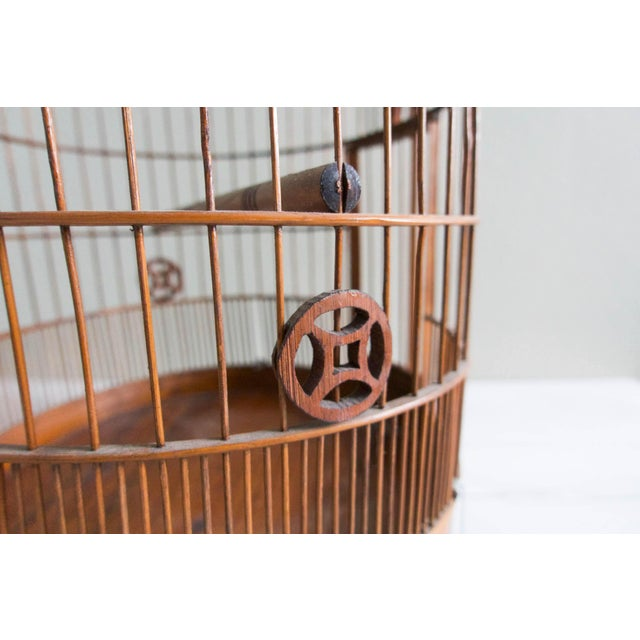 Vintage Chinese Bamboo Bird Cage - Image 4 of 6