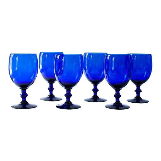 Cobalt Wine Glasses - Set of 6 - Image 1 of 3