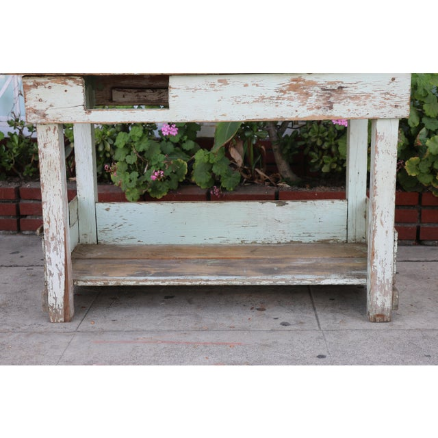 Rustic 1950s Rustic Distressed Farm Table For Sale - Image 3 of 10