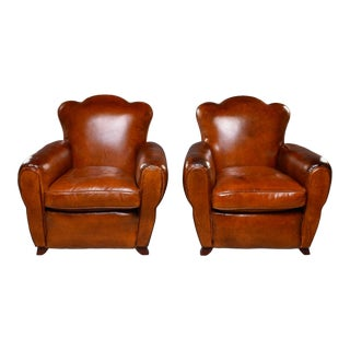 French Art Deco Leather Club Chairs - Pair For Sale