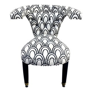Black & White Pattern Upholstered Occasional Chair For Sale
