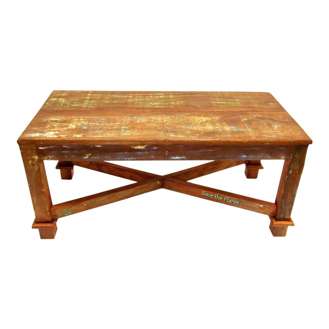 Antique Coffee Table Eco-Friendly Reclaimed Solid Wood