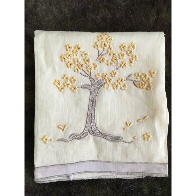 Vintage Embroidered Tree Tea Towel - Image 2 of 10