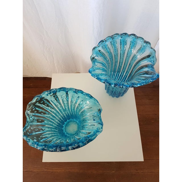 Blue Large Blue Murano Glass Mid Century Modern Vases, 1970's, by Barovier E Toso- a Pair For Sale - Image 8 of 9