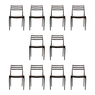 Mid-Century Modern Restored Niels Otto Møller Rosewood Dining Chairs - Set of 10 For Sale