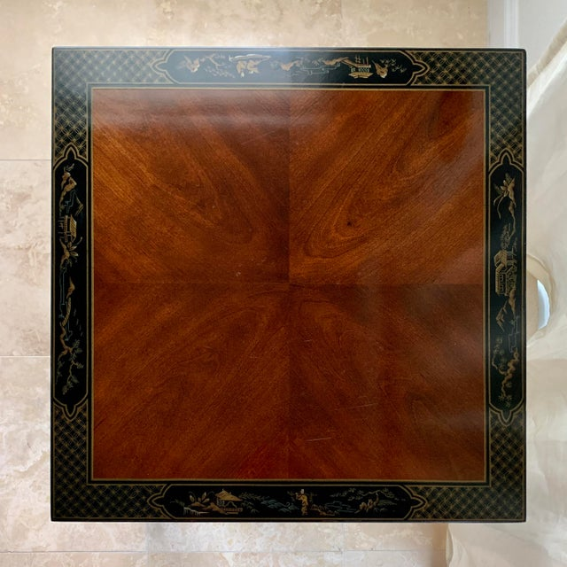 Japanese Vintage Drexel Heritage Et Cetera Chinoiserie Lacquer End Side Squared Table For Sale - Image 3 of 13