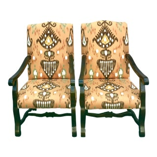 Baker Tangerine Ikat Upholstered Arm Chairs - a Pair