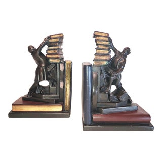 20th Century Antique English Library Book Ends - a Pair Man Reaching Putting Books Away Heavy Decorative Vintage For Sale