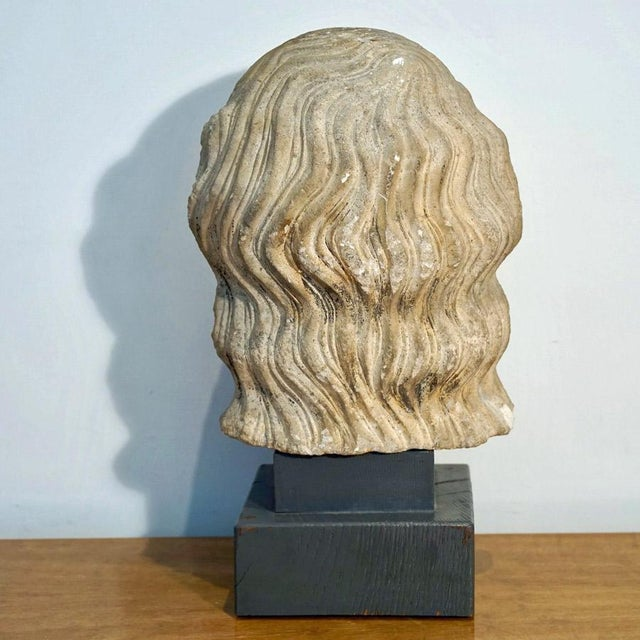 Vintage Medieval Limestone Bust For Sale In Los Angeles - Image 6 of 10