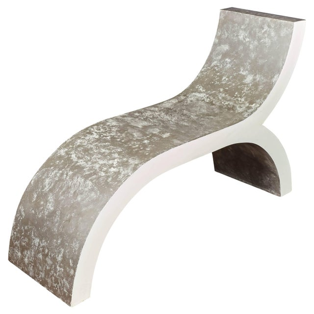 A fabulous and unusual curvilinear, abstract designed Modernist bench, recamier, daybed, chair, stool in white lacquer...