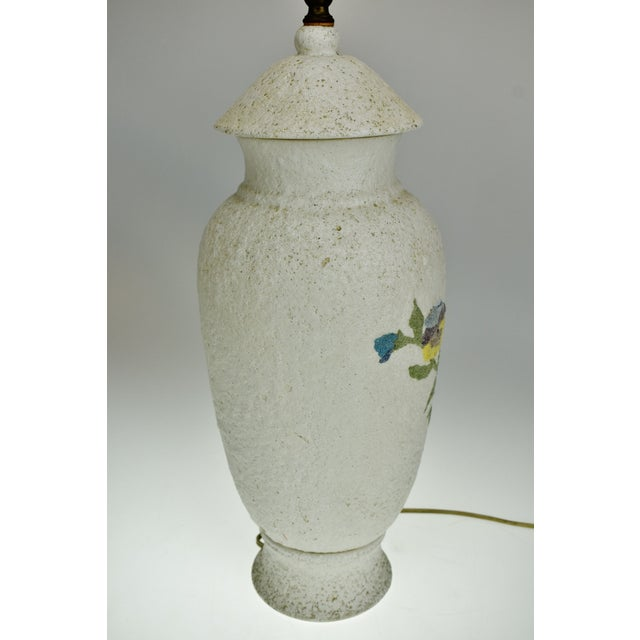 Ceramic Vintage Large Textured Pottery Table Lamp For Sale - Image 7 of 13