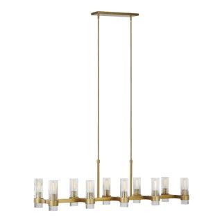 Chapman & Myers by Generation Lighting Geneva Linear Chandelier, Brass For Sale
