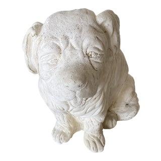 Vintage White Plaster Dog Statue For Sale