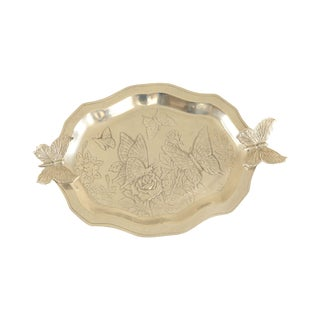 Arthur Court Aluminum Butterfly Serving Tray For Sale