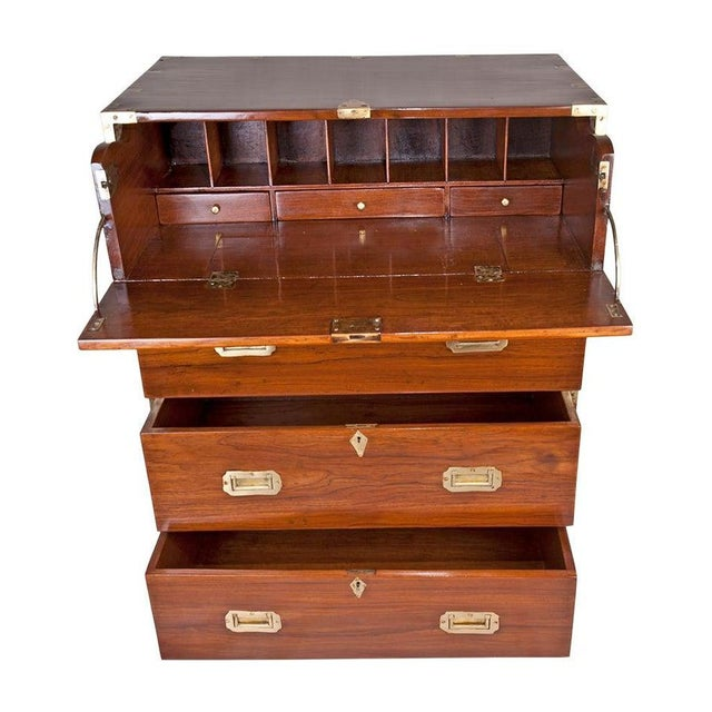 British Colonial British Campaign Teak Wood Secretary and Chest of Drawers, Circa 1900 For Sale - Image 3 of 6