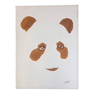 Ochre Panda Oil Painting on Paper For Sale
