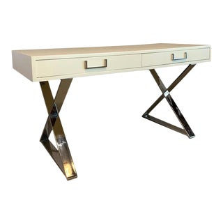 1970s Campaign Milo Baughman White Lacquer and Chrome Writing Desk For Sale