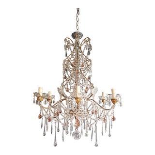 Beaded Pink Florentine Chandelier Antique Ceiling Lamp Lustre Art Nouveau For Sale