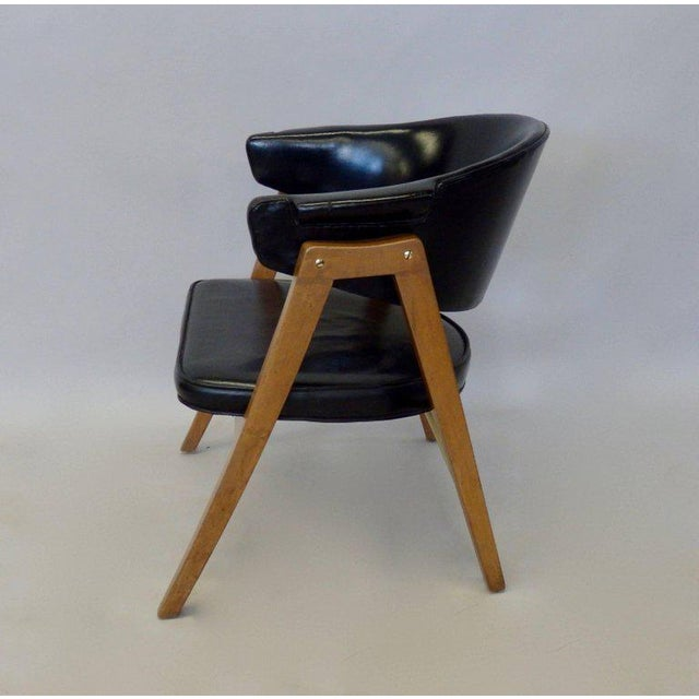 Mid 20th Century Edward Wormley for Dunbar Lounge Chair With Black Leather For Sale - Image 5 of 6