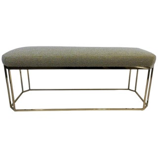 Hexagonal Shape Brass Bench by Milo Baughman For Sale
