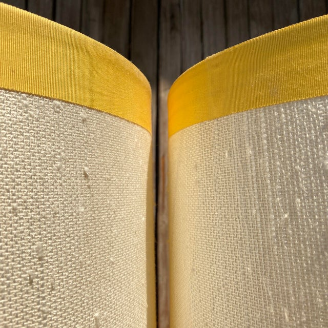 Mid-Century Modern 1960s Mid-Century Modern Sonneman Kovaks Yellow Stacked Ball Ceramic Lamps with Original Shades - a Pair For Sale - Image 3 of 13