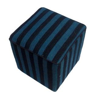 Arshs Donnie Black/Blue Kilim Upholstered Handmade Ottoman For Sale