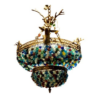 European Stag Multi Color Beaded Chandelier For Sale