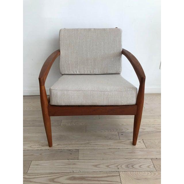 Linen 1955 Mid-Century Modern Kai Kristiansen Teak Paper Knife Easy Chair For Sale - Image 7 of 13