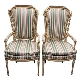 French Carved, Painted & Upholstered Arm Chairs C.1940 - a Pair For Sale