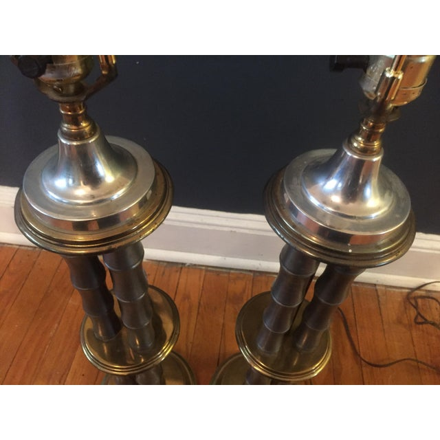 Brass Vintage Metal & Brass Faux Bamboo Lamps - A Pair For Sale - Image 7 of 7