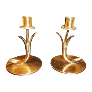 Swedish Ystad Metal Candleholders - A Pair