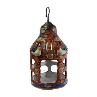 Chinese Vintage Handmade Red Ceramic Birdcage Shape Display Figure For Sale