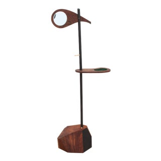 Postmodern Mirrored Rosewood Valet Stand For Sale