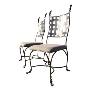 Heavy Wrought Iron Dining Chairs Giacometti Style - a Pair For Sale