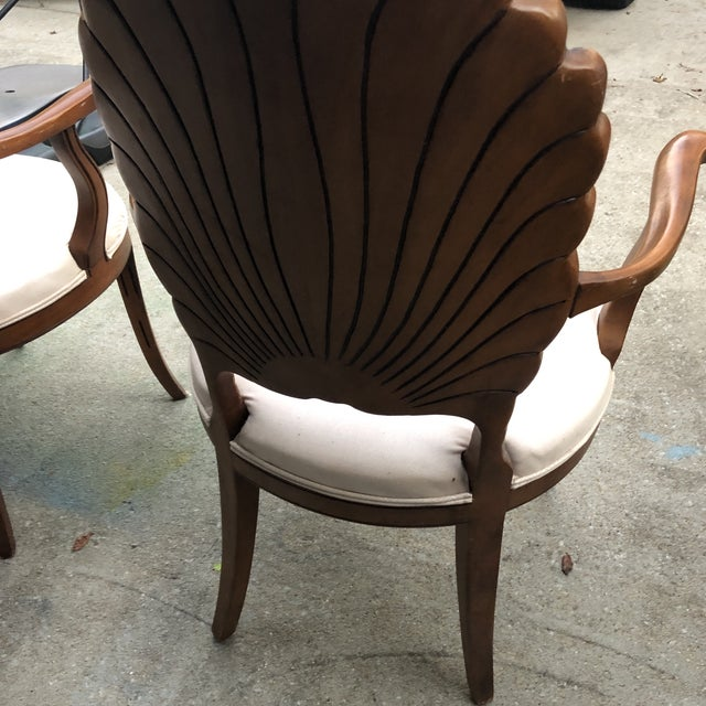 1970s 1970s Vintage Italian Hand Carved Shell Chairs- A Pair For Sale - Image 5 of 5