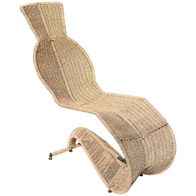 Metal Sculptural Woven Rope Chaise Longue For Sale - Image 7 of 7