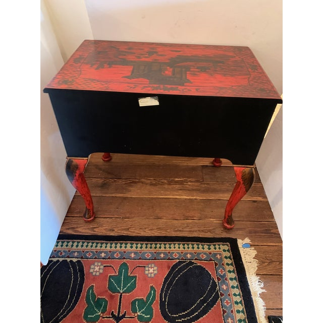 Chelsea House Tomato Red Chinoiserie Chest of Drawers For Sale - Image 11 of 13