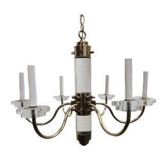 Mid- Century Brass and Lucite Frederick Cooper Chandelier For Sale