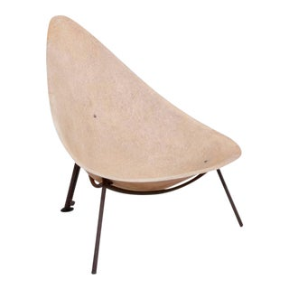 Early French Fiberglass Lounge Chair in Parchment by Ed Merat, France, 1956 For Sale