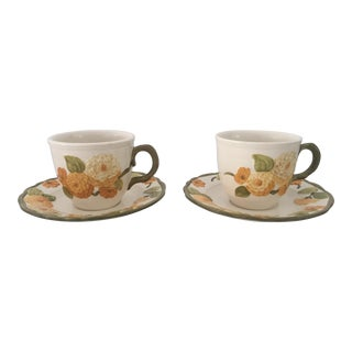 Vintage Poppy Trail by Metlox Set of 2 Teacups & Saucers For Sale