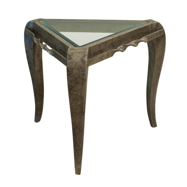 Triangular Khaki Gold Metal Side Table & Glass Top - Image 1 of 6