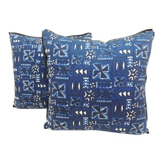 Vintage Pair of Blue & White African Batik Decorative Pillows.