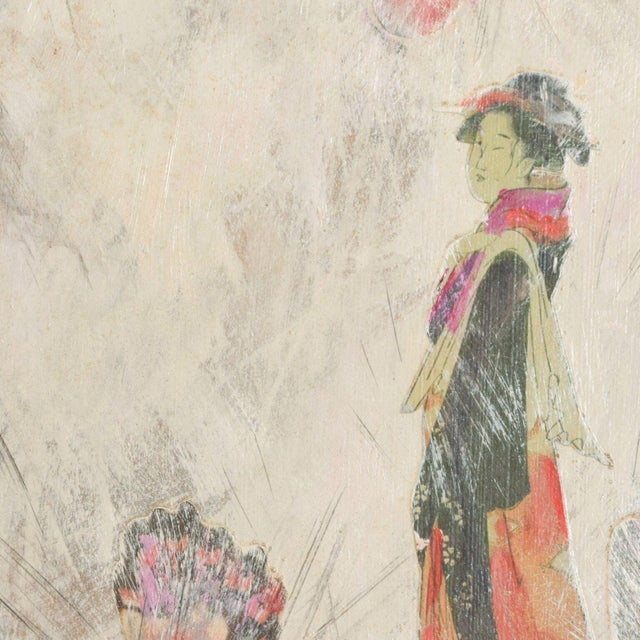 For you: Mixed Media Painting Art Piece Framed- Lovely Japanese Woman and Pretty Pink Butterflies Work, Signed Art....