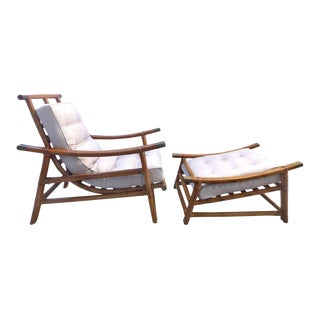 Mid-Century Modern Rattan Lounge Chair and Ottoman by Vogue