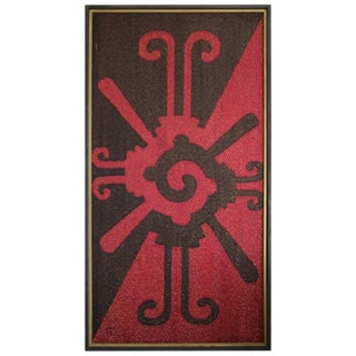Black and Red Midcentury Tapestry For Sale